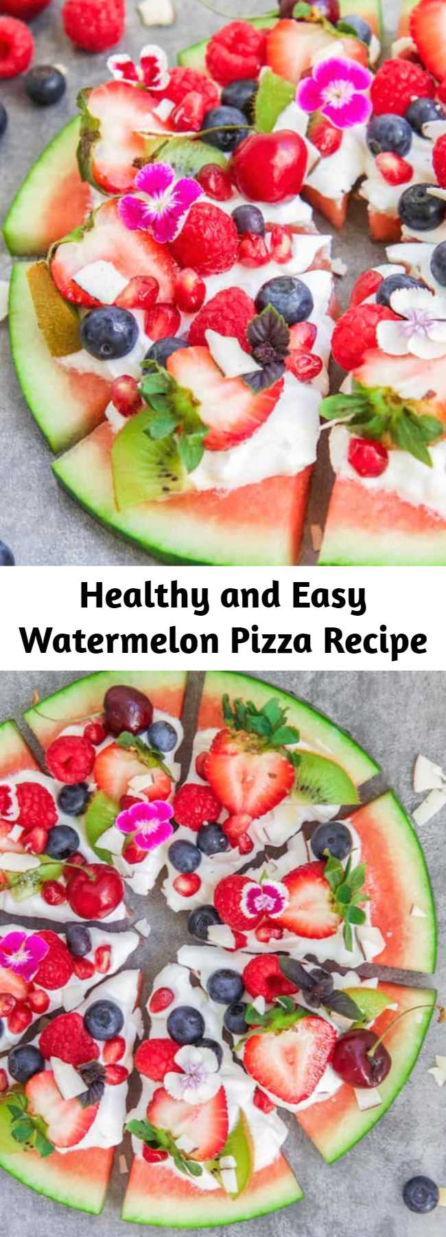 Healthy and Easy Watermelon Pizza Recipe - This watermelon pizza is a fun little treat that everyone can enjoy! It's healthy and easy to make! Refreshing, delicious, and only takes 10 minutes to make.