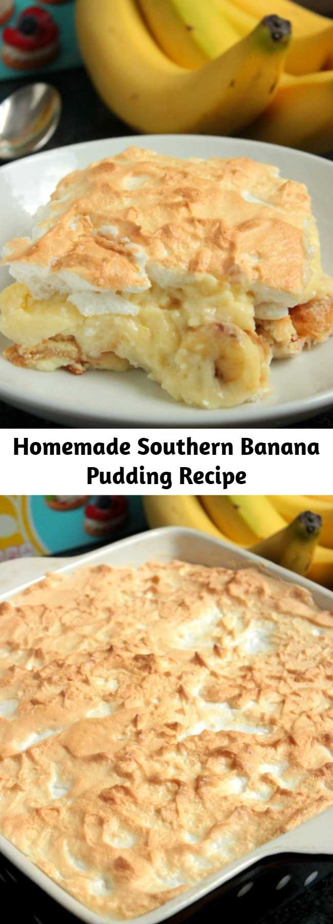 Homemade Southern Banana Pudding Recipe - Serve is hot or cold, this Homemade Southern Banana Pudding is going to be loved by all! Roasting the banana gives it a richer banana flavor too!