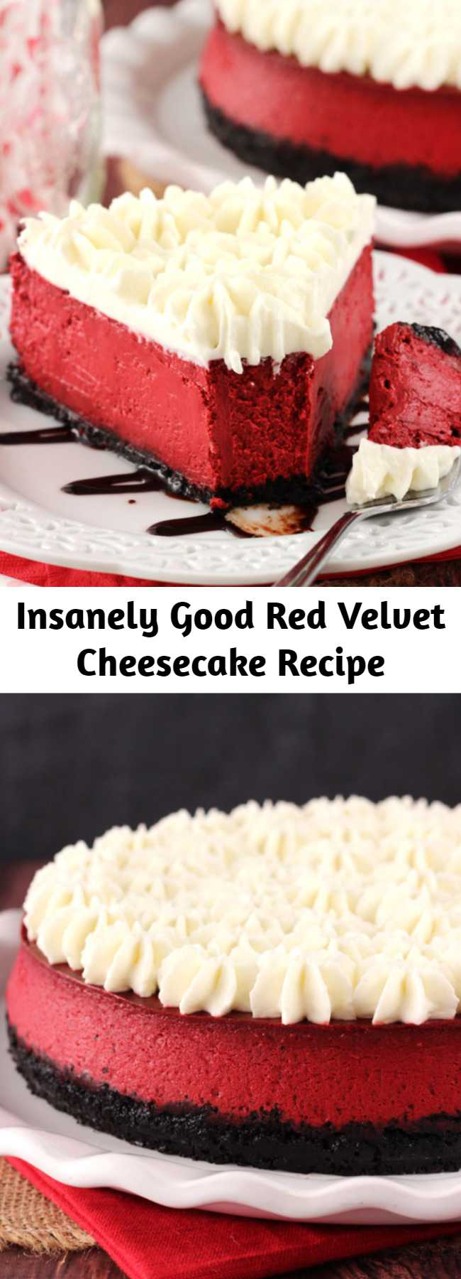 Insanely Good Red Velvet Cheesecake Recipe - This Red Velvet Cheesecake is one of the smoothest and creamiest cheesecakes I've ever made. It's insanely good and has that light tanginess that's so loved in a red velvet dessert. The cream cheese whipped cream topping finishes it off perfectly!