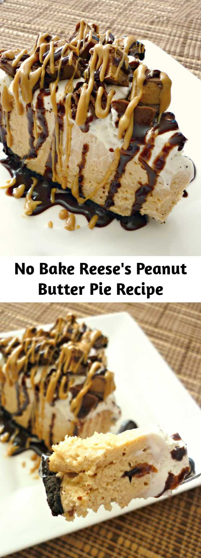 No Bake Reese's Peanut Butter Pie Recipe - This Reese's Peanut Butter Pie is sure to knock your socks off. With a delicious no-bake peanut butter cheesecake filling and topped with Reese's Miniatures, you can't go wrong with this easy dessert.