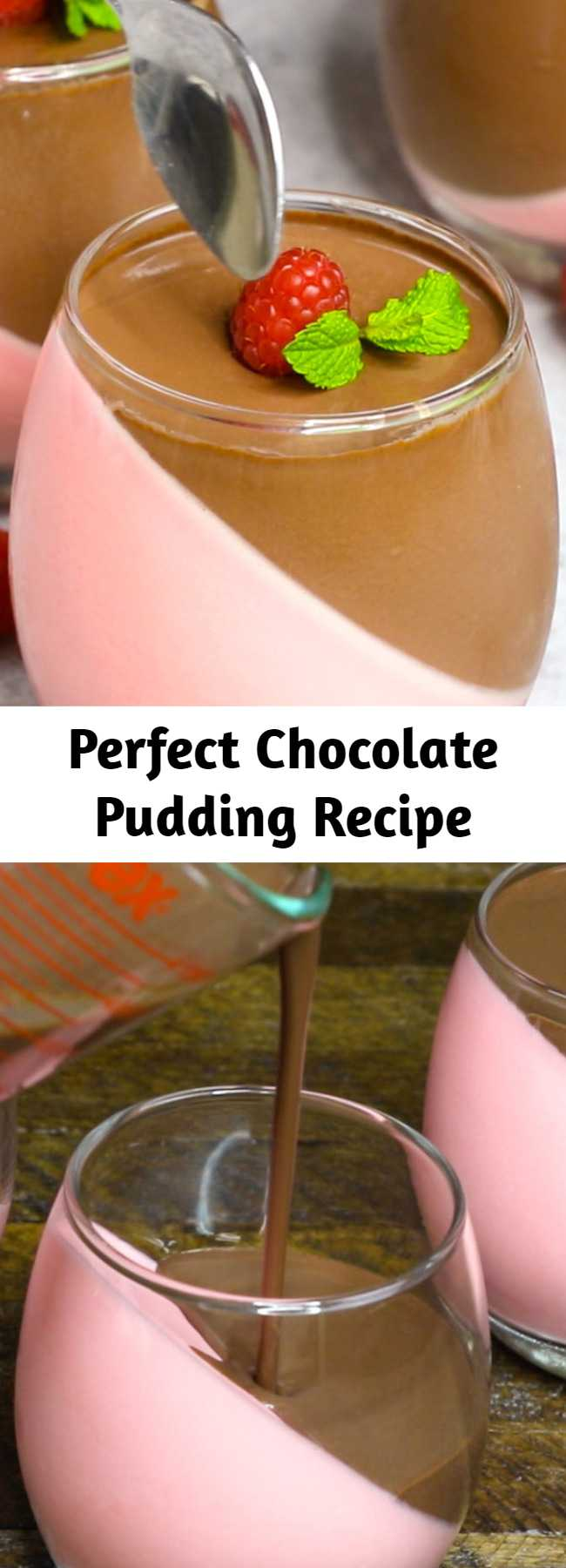 Perfect Chocolate Pudding Recipe - This Homemade Chocolate Pudding is a stunning make-ahead mouthwatering dessert that's creamy and smooth. It's an easy recipe with a few simple ingredients: raspberry jello powder, cool whip, half and half milk, gelatin, unsweet chocolate and sugar.