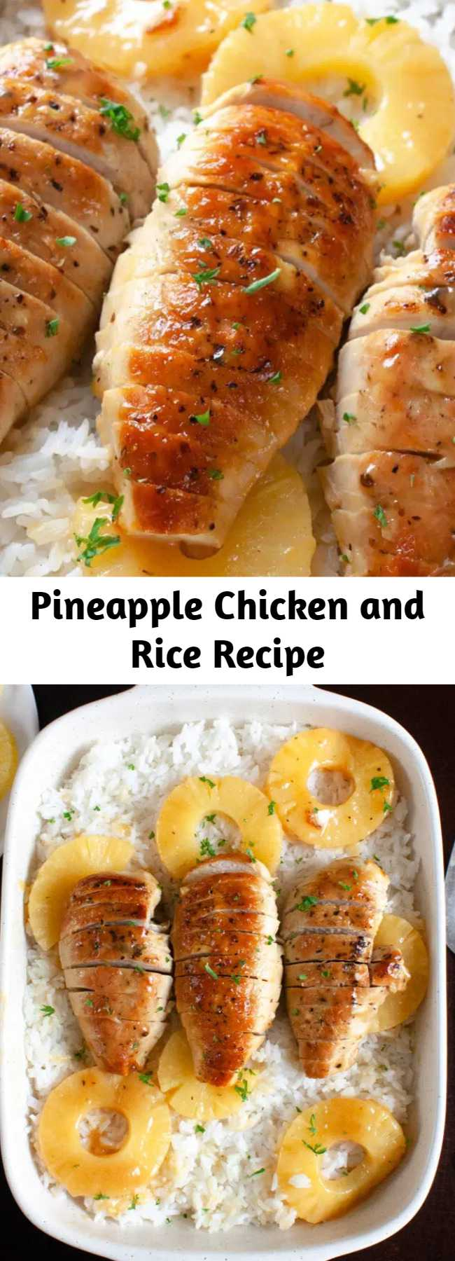 Pineapple Chicken and Rice Recipe - Pineapple Chicken with Rice Dinner Recipe. Tender chicken cooked in a sweet pineapple honey Dijon sauce and served over rice.