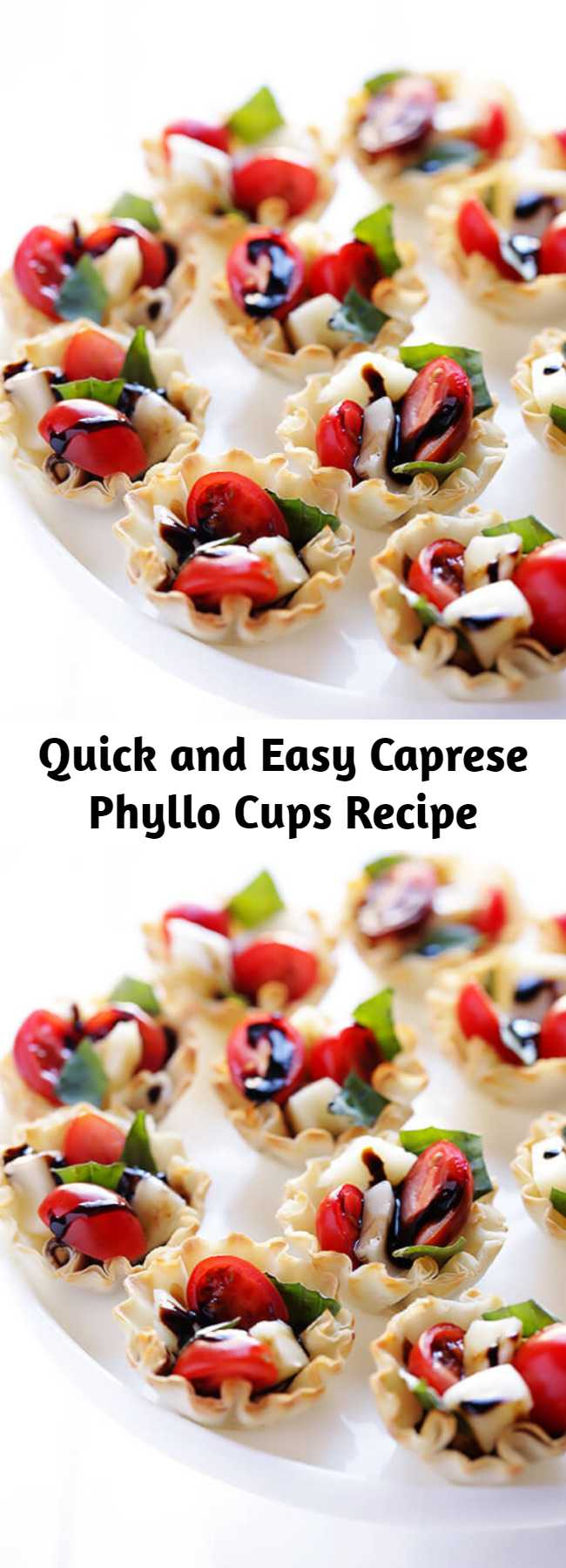 Quick and Easy Caprese Phyllo Cups Recipe - All you need are 5 ingredients to make these easy Phyllo Caprese Cups. They are the perfect appetizer!