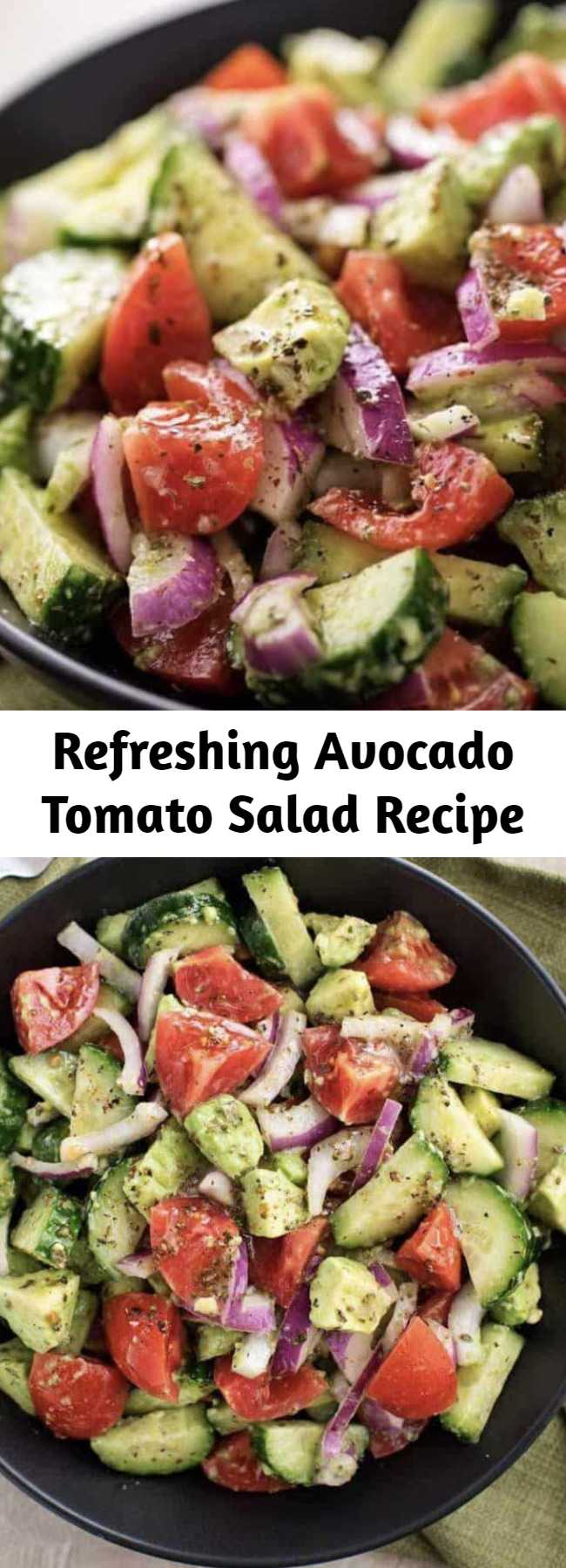 Refreshing Avocado Tomato Salad Recipe - This fresh and delicious Avocado Tomato salad recipe is made with cucumbers, tomatoes, and avocados mixed in with a unique and flavorful dressing. So refreshing, perfect for the summer and pairs well with any meal as a side dish or enjoy on its own!