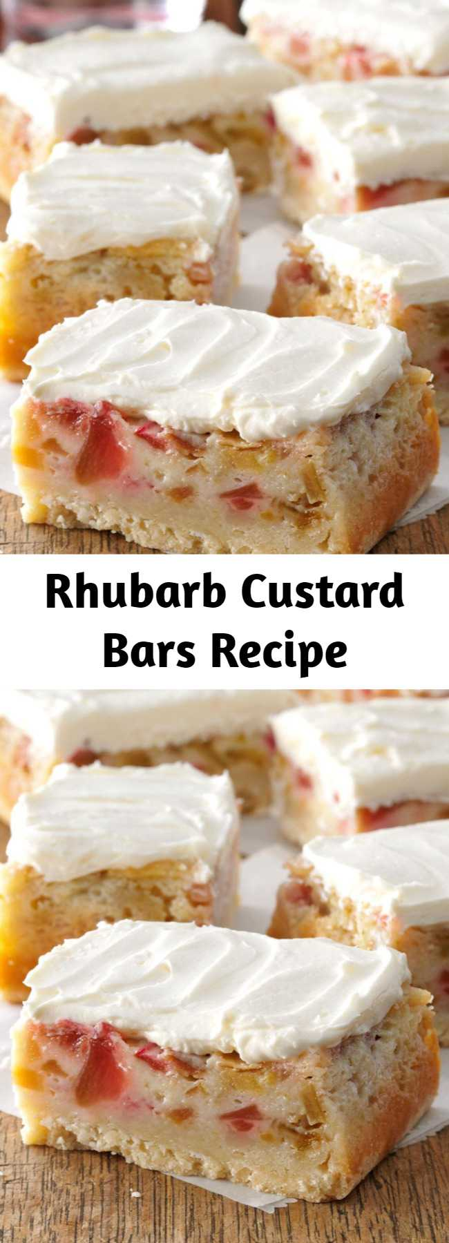 Rhubarb Custard Bars Recipe - Once I tried these rich, gooey bars, I just had to have the recipe so I could make them for my family and friends. The shortbreadlike crust and the rhubarb and custard layers inspire people to find rhubarb that they can use to fix a batch for themselves.
