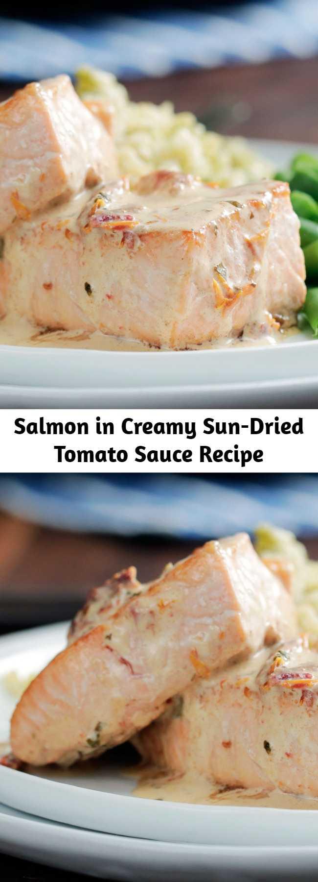 Salmon in Creamy Sun-Dried Tomato Sauce Recipe - Layer on the flavor with a creamy sun-dried tomato sauce over lightly seasoned sauteed salmon.