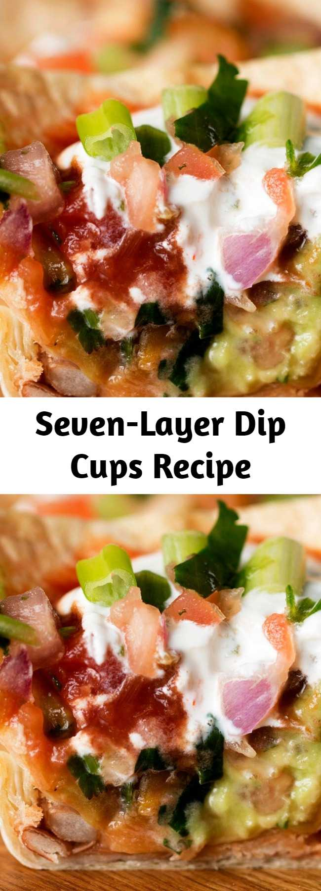 Seven-Layer Dip Cups Recipe - These recipe is amazing!!! The whole family loves them. Really fast, easy, and tasty snacks.