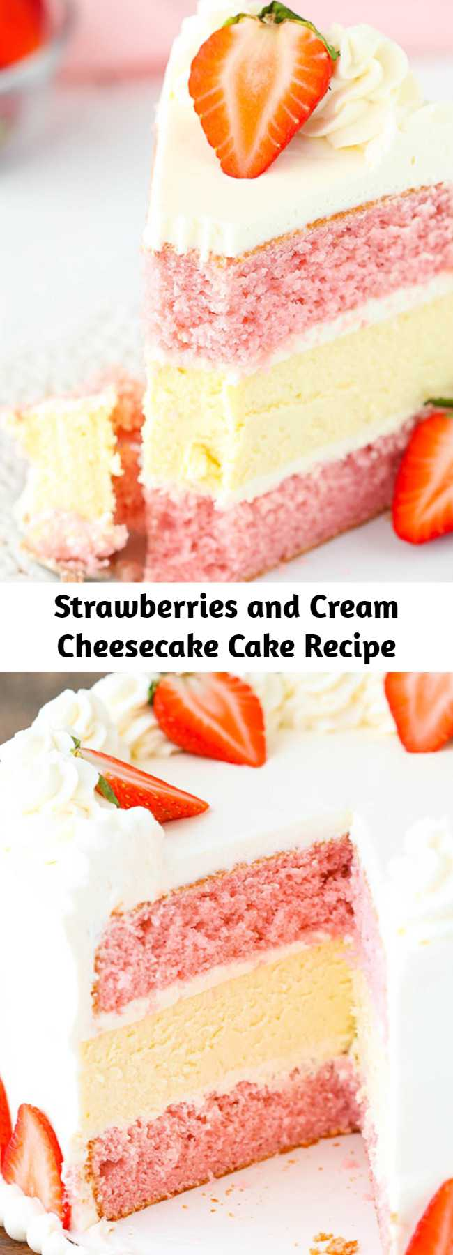 Strawberries and Cream Cheesecake Cake Recipe - This Strawberries and Cream Cheesecake Cake is perfect in every way! With two layers of strawberry cake and a creamy layer of vanilla cheesecake in the middle, this cake is no joke.