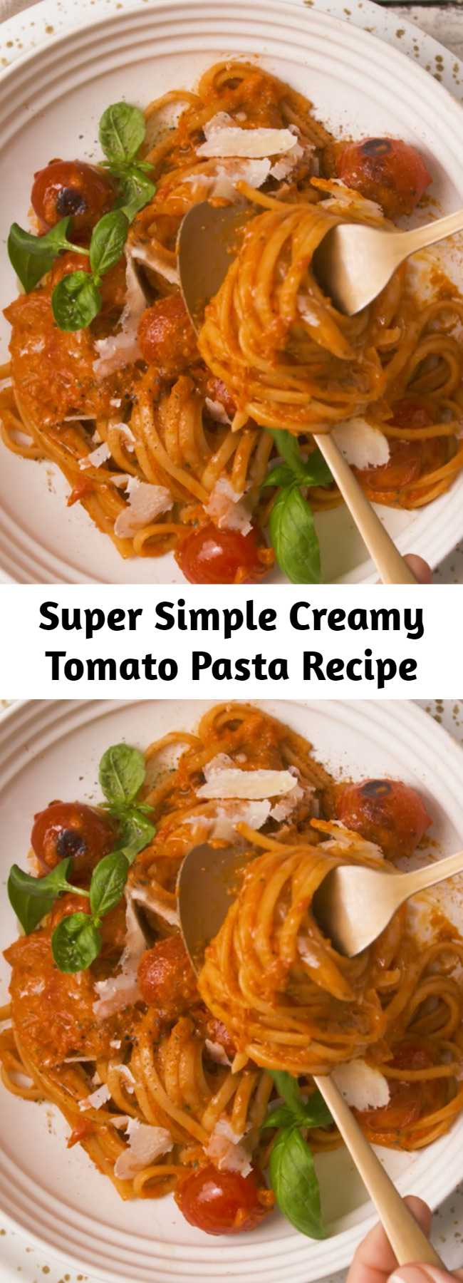 Super Simple Creamy Tomato Pasta Recipe - Roasted tomatoes, red peppers + onions and garlic blended together with some fresh basil leaves and creamy = the most simple yet delicious pasta sauce!