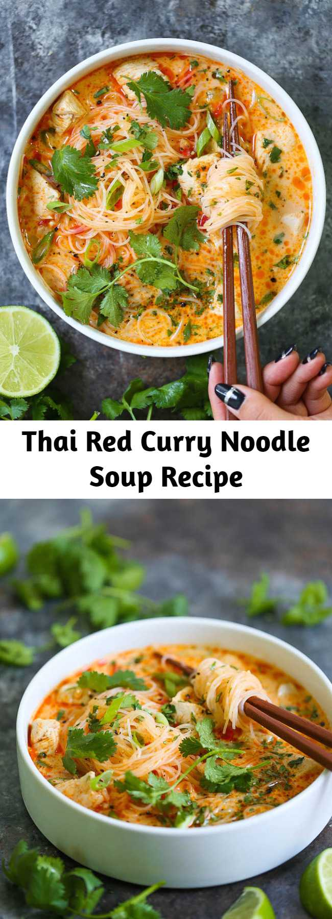 Thai Red Curry Noodle Soup Recipe - Yes, you can have Thai takeout right at home! This soup is packed with so much flavor with bites of tender chicken, rice noodles, cilantro, basil and lime juice! So cozy, comforting and fragrant – plus, it's easy enough for any night of the week!