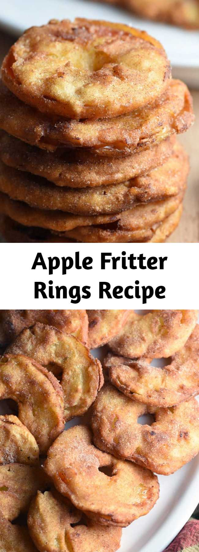 Apple Fritter Rings Recipe - These Apple Fritter Rings are a fun spin on the popular donut shop Apple Fritter. Like a sweet apple version of an onion ring! #applefritters #applefritterrings #applefritterringsrecipe #appleringsfried