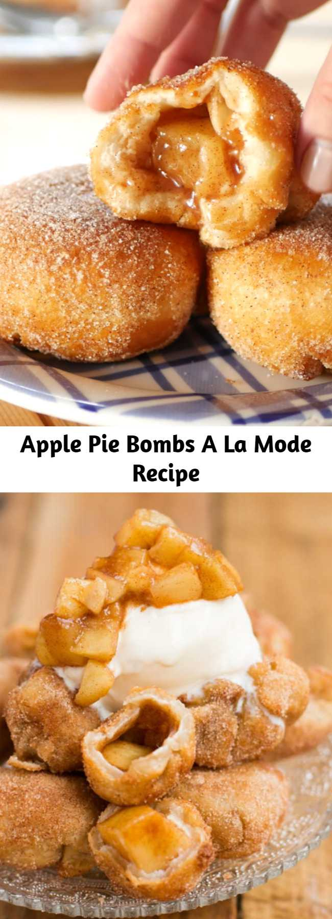 Apple Pie Bombs A La Mode Recipe - It's not fall until you've made apple pie bombs a la mode with creamy vanilla ice cream and those glazed apples all over the tops. I love fall dessert recipes!