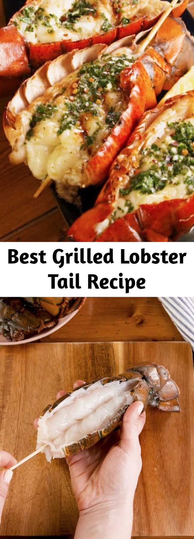 Best Grilled Lobster Tail Recipe - Lobster tail is kinda expensive, and therefore it seems pretty fancy. But it's actually incredibly easy to make. This recipe comes together in under 30 minutes and is the perfect dinner to make for a special occasion. The herb butter is PERFECT. #grilledlobster #lobstertail #howtogrilllobster #grilling #seafood #lobster