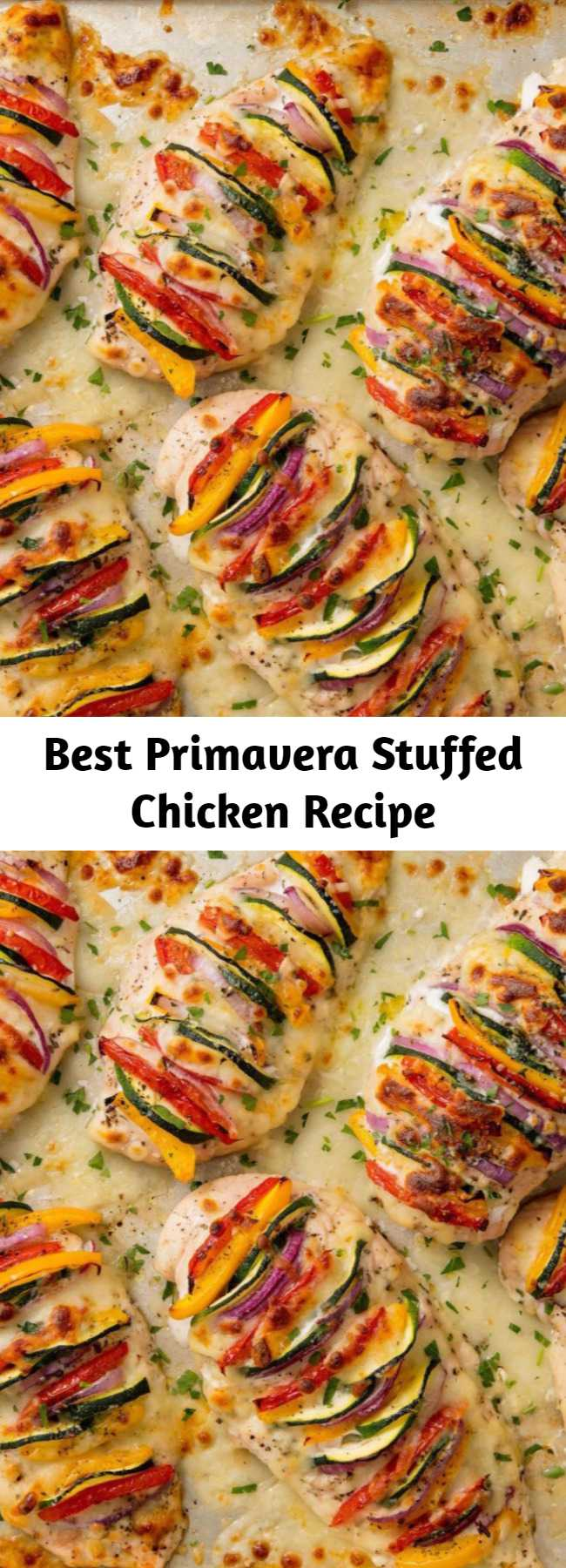 Best Primavera Stuffed Chicken Recipe - This is the opposite of boring, flavorless chicken breast. It's literally packed with colorful flavor. Bonus: It's insanely good for you! It's sooo pretty.