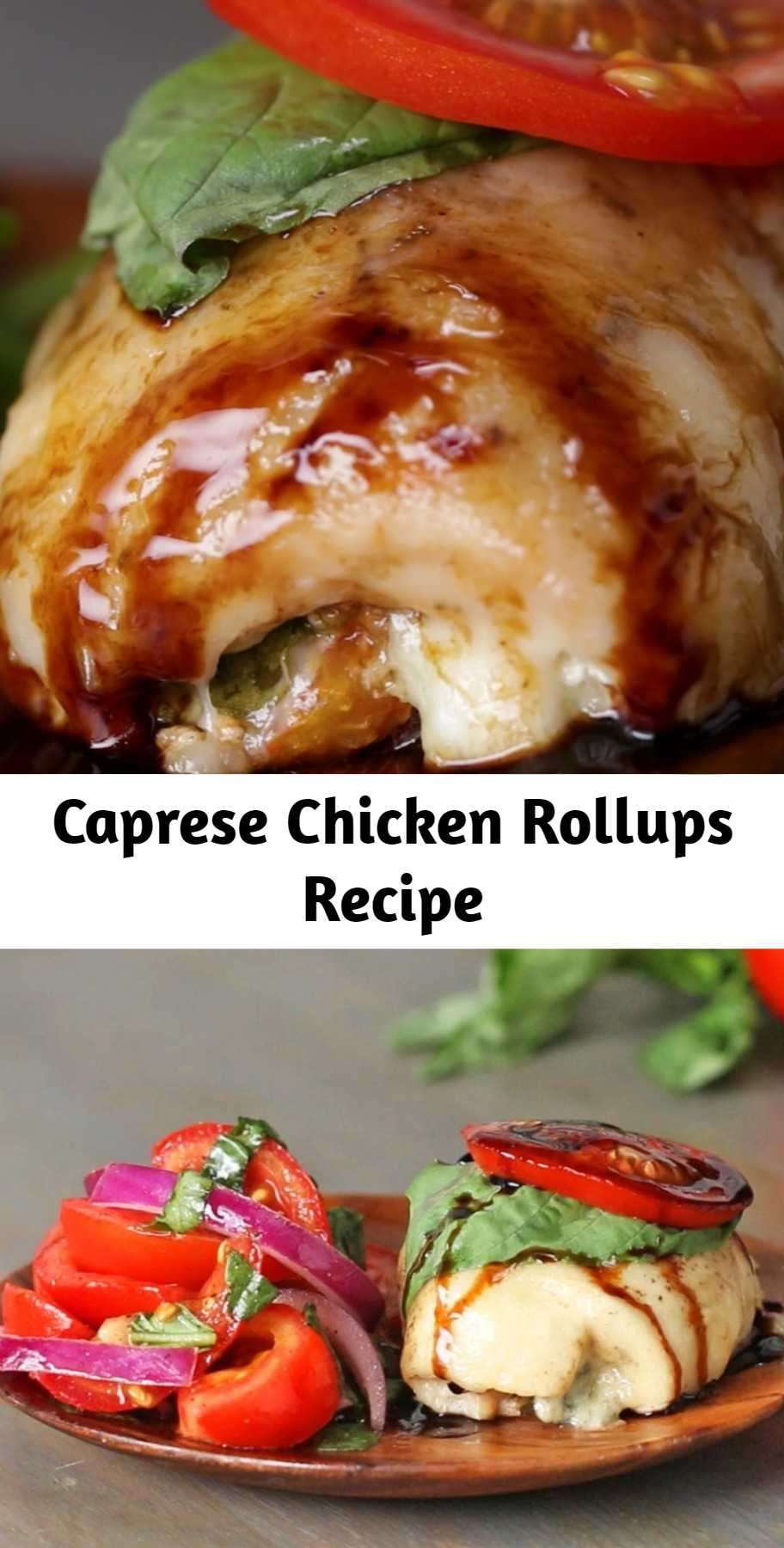 Caprese Chicken Rollups Recipe - Looking for a new way to enjoy caprese salad? Try these Caprese Chicken Rollups! You get all the fun of a caprese salad stuffed into chicken breast! It was really good!