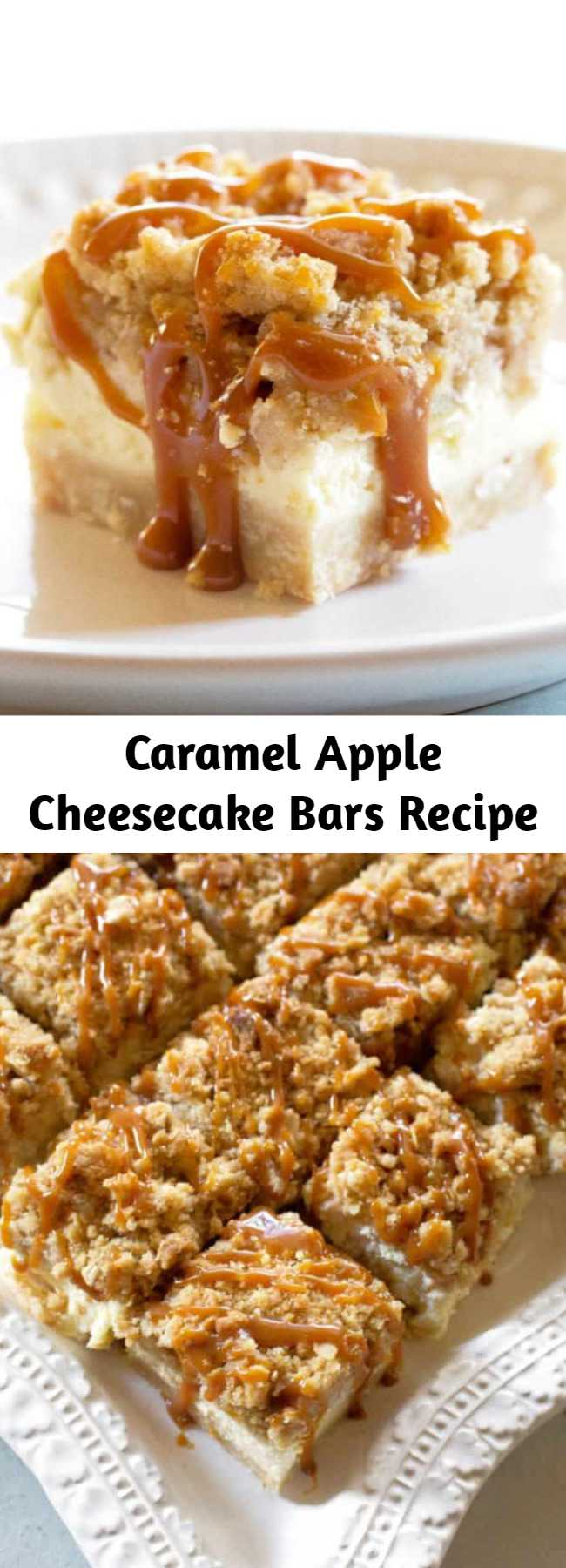 Caramel Apple Cheesecake Bars Recipe - These creamy Caramel Apple Cheesecake Bars start with a shortbread crust, a thick cheesecake layer, and are topped with diced cinnamon apples and a sweet streusel topping. These are a tried and true cheesecake bar dessert recipe.