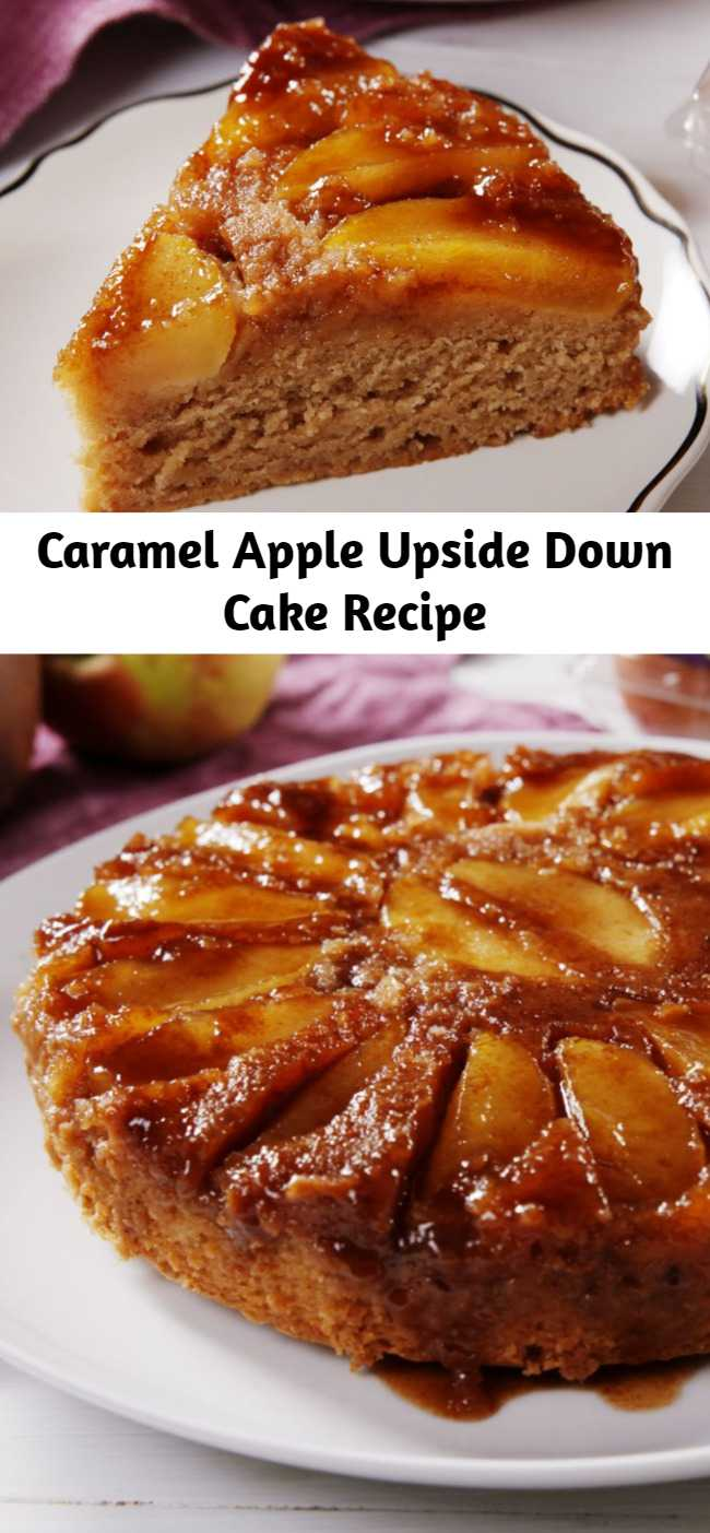 Caramel Apple Upside Down Cake Recipe - Move over, pineapple! This is our new favorite upside-down cake. This tastes like a spice cake crossed with a caramel apple and we are INTO IT. After tasting this Caramel Apple Upside Down Cake, you won't want any other apple cake.