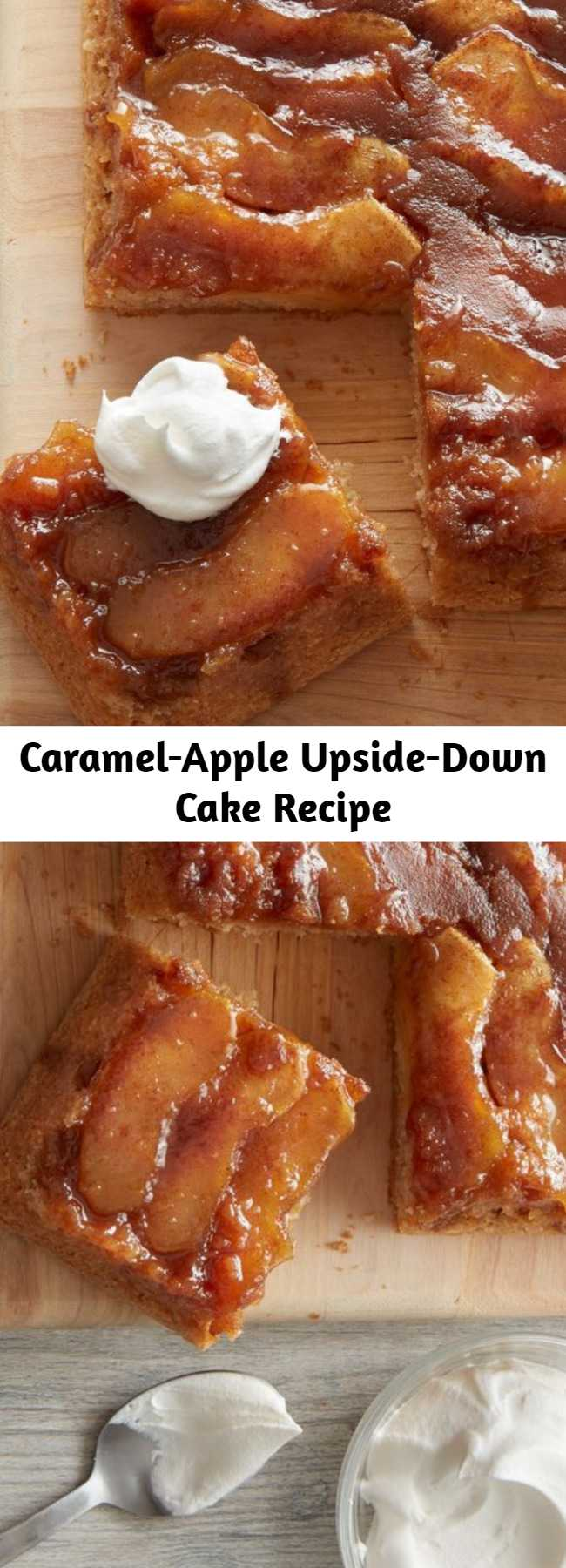 Caramel-Apple Upside-Down Cake Recipe - The best part about the classic pineapple upside-down cake is its gooey fruit topping, and this fresh take on the beloved dessert is no exception. We replaced canned pineapple with fresh apple slices whose tart flavor is the perfect balance to a sticky-sweet caramel sauce. We don't like to play favorites, but this topping plus a tender vanilla scratch cake equals an easy modern-day treat that may just outdo the original.