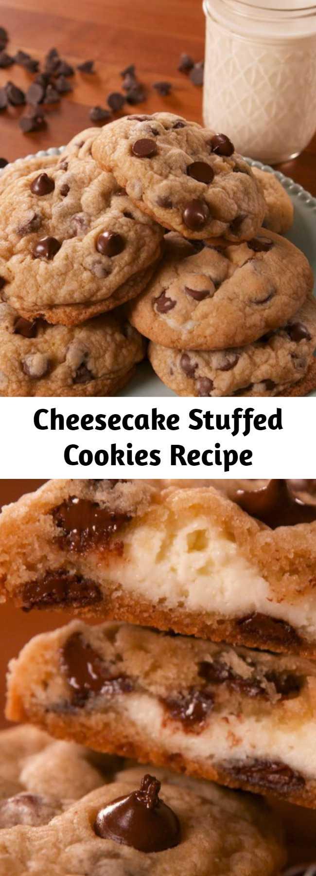Cheesecake Stuffed Cookies Recipe - Have your cheesecake and your cookie too. #food #easyrecipe #baking #dessert #cookies