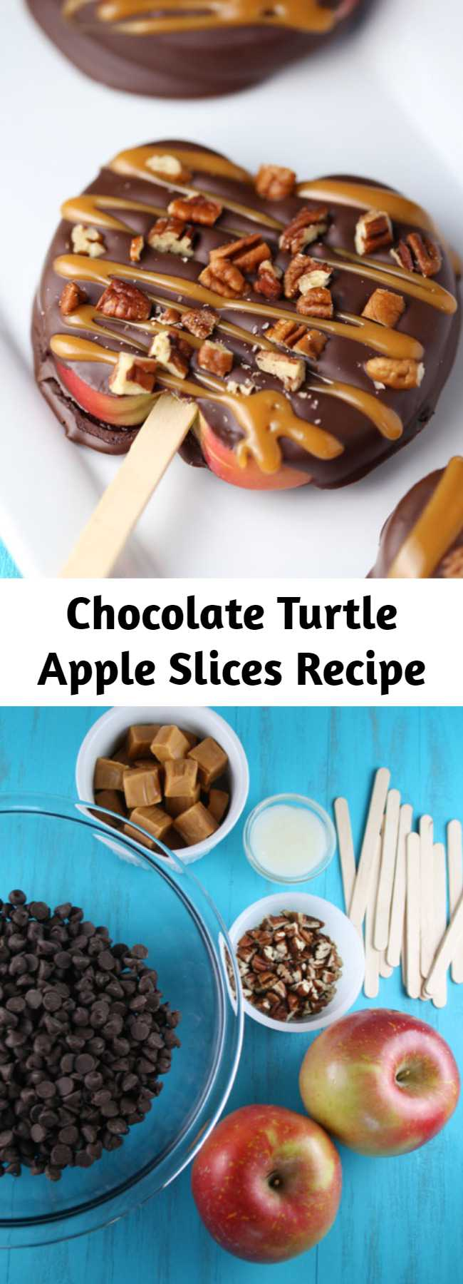 Chocolate Turtle Apple Slices Recipe - Chocolate Turtle Apple Slices are thick slices of Fuji apples covered in melted chocolate, drizzled with caramel and topped with nuts.