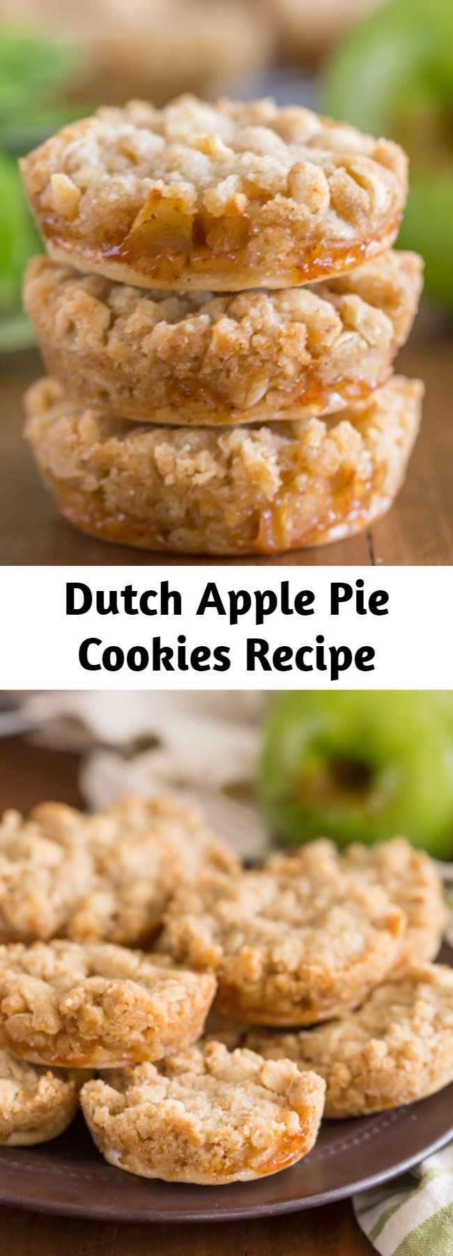 Dutch Apple Pie Cookies Recipe - These are the perfect little three bite apple pie -slash- cookie.  They have a circle of pie crust on the bottom, then a layer of finely diced cinnamon apple filling, with the most delicious, sweet, buttery crumb topping.