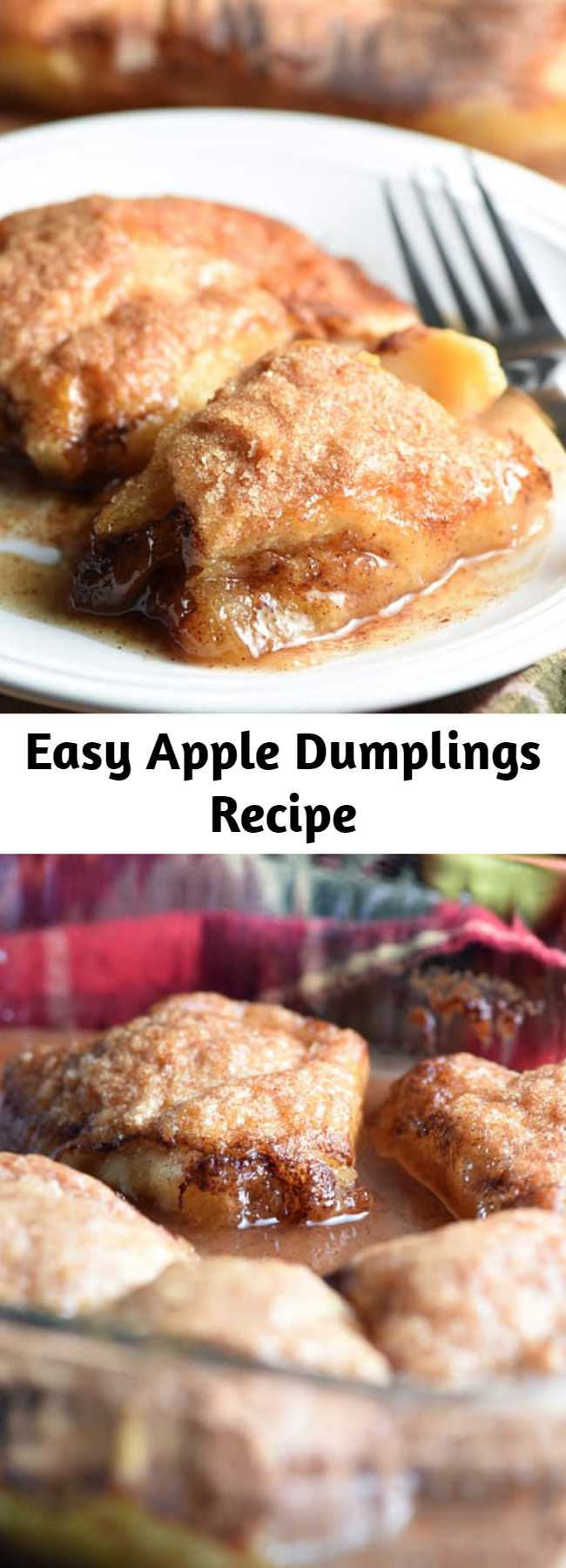 Easy Apple Dumplings Recipe - These Easy Country Apple Dumplings are soft and gooey on the bottom, but crispy on top, and they taste like apple pie. So easy and ridiculously good. Plus the house smells amazing while they bake!