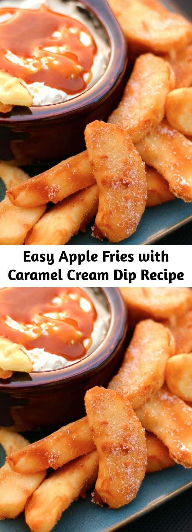 Easy Apple Fries with Caramel Cream Dip Recipe - These Apple Fries with Caramel Cream Dip are the perfect warm dessert for a crisp fall evening. It made our house smell like apple pie. Crisp apple wedges are lightly battered and fried in a pan, then sprinkled with a cinnamon-sugar mix. What really sets these fried apples apart is the dipping sauce. You'll love this creamy, caramel-infused dip.