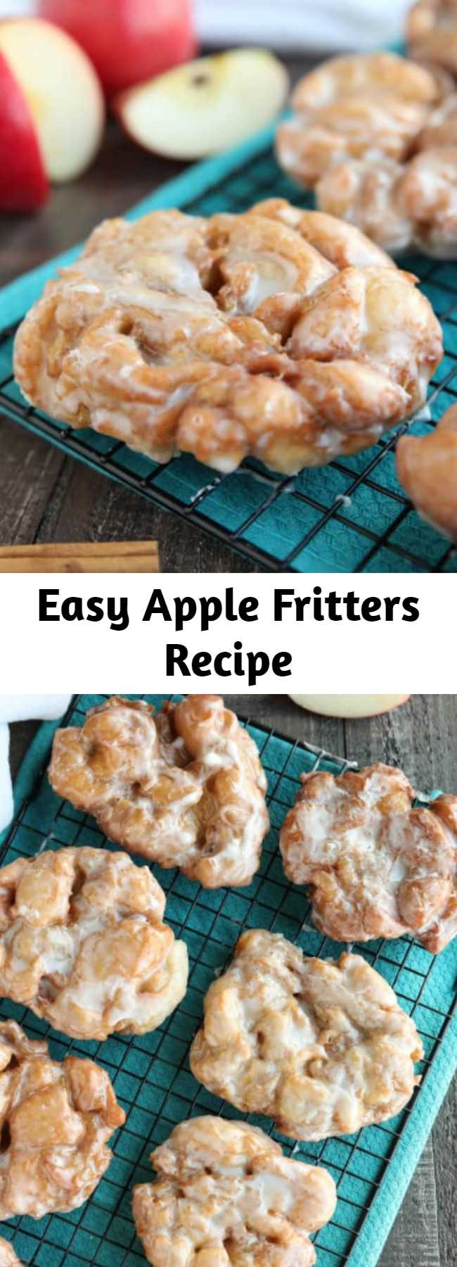 Easy Apple Fritters Recipe - An easy and delicious yeast doughnut with chunks of apples, ground cinnamon, and a sweet glaze.