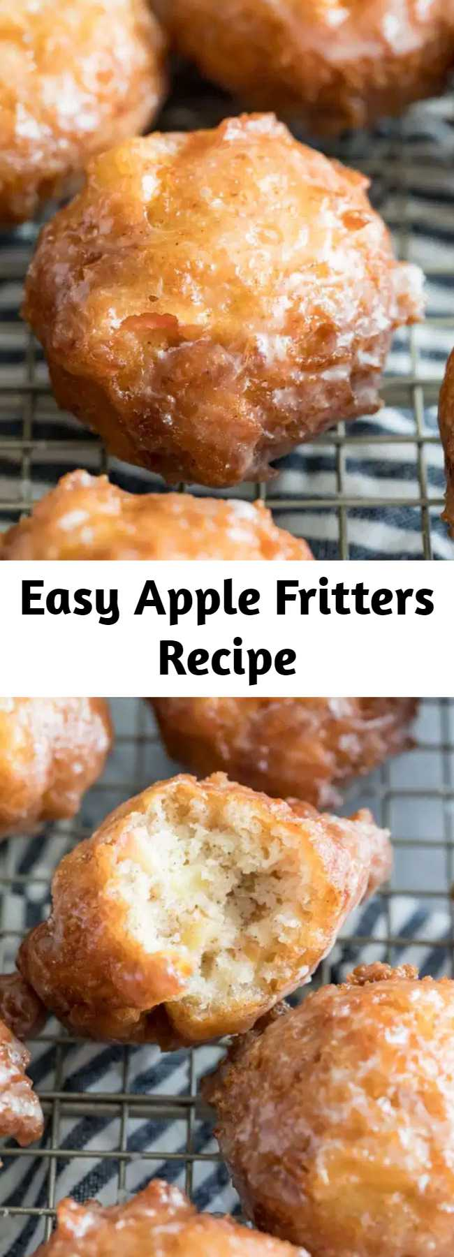Easy Apple Fritters Recipe - Apple fritters are somewhat sweet, tender, and fluffy, and are absolutely packed with flavor. Dip them in a 3 ingredient apple cider glaze or roll them in cinnamon/sugar and enjoy! Have you ever made fried apple fritters before? Don't be intimidated because this recipe is so simple to make at home, it require absolutely no yeast or rising!
