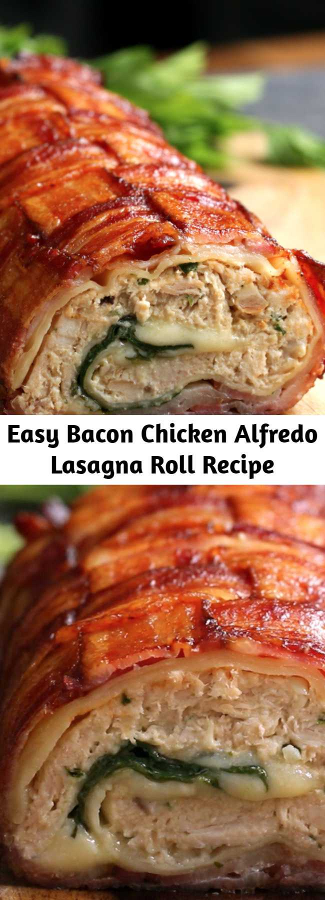 Easy Bacon Chicken Alfredo Lasagna Roll Recipe - Family fav added to weekly suppers!!! Incredibly easy and flavorful! Can almost knock out two dinners with the rotisserie chicken... use half for this roll and the other half for chicken salad, for the next days lunch.
