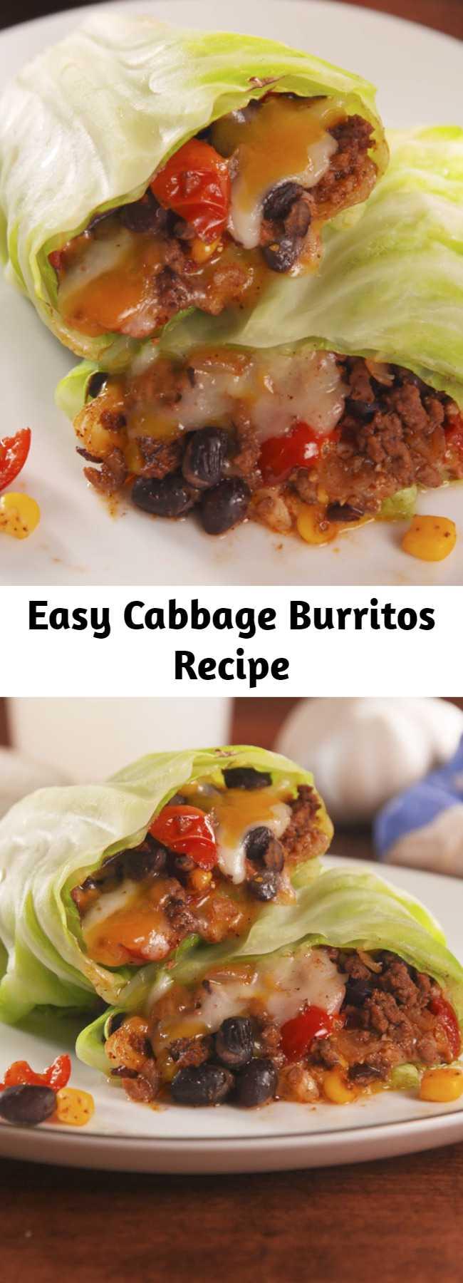 Easy Cabbage Burritos Recipe - The healthy way to get your Tex-Mex fix. #healthyrecipes #easyrecipes #cabbage #healthyburritos #lowcarb