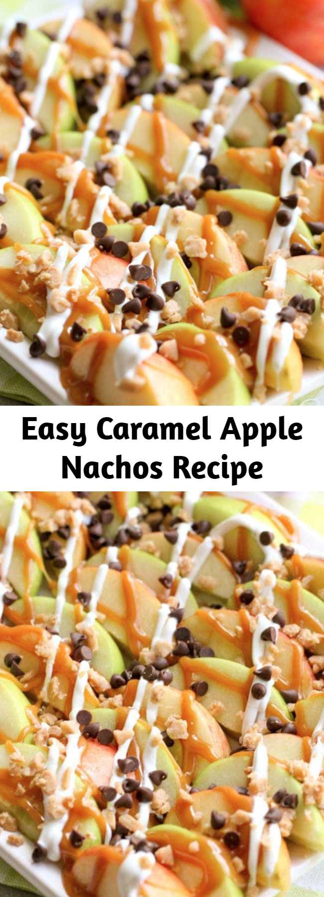 Easy Caramel Apple Nachos Recipe - These Caramel Apple Nachos are an easy treat perfect for movie nights and get togethers. Sliced apples drizzled in caramel and white chocolate, and topped with chocolate chips and toffee bits - it tastes just like a caramel apple, but simpler to make!