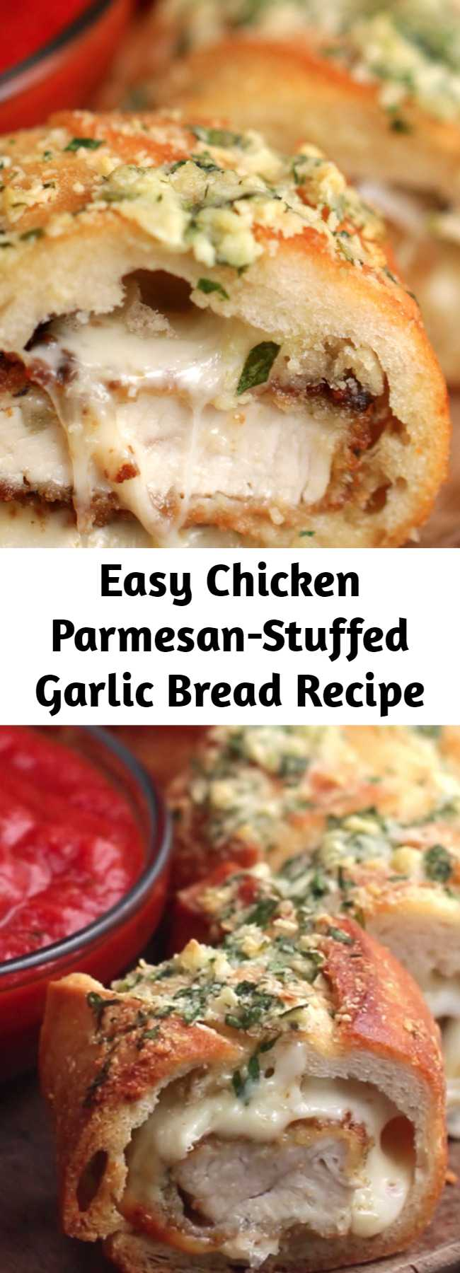 Easy Chicken Parmesan-Stuffed Garlic Bread Recipe - Super easy to stuff the bread just make sure you get a big baguette and not a little one. Loved it!