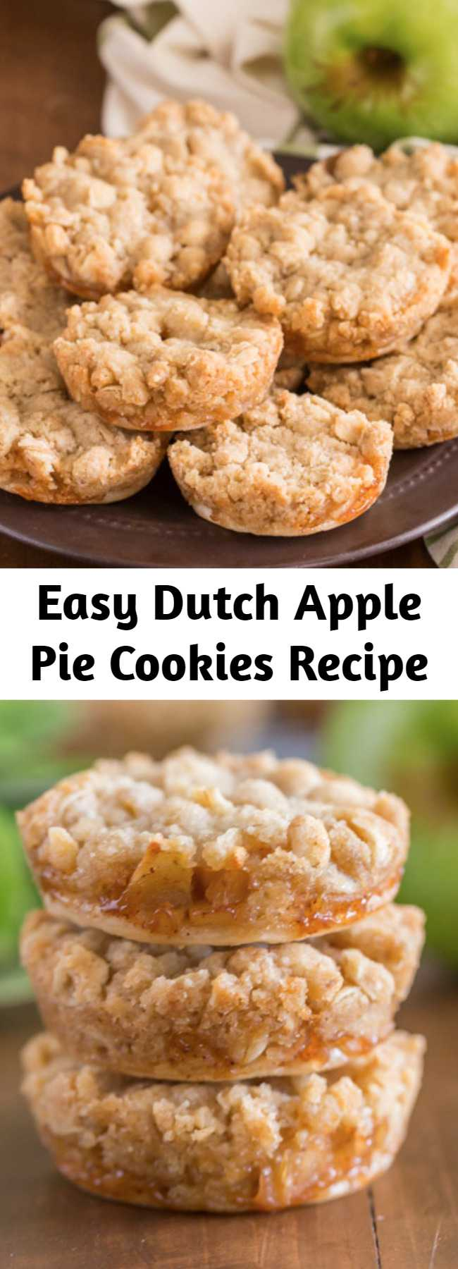 Easy Dutch Apple Pie Cookies Recipe - These are the perfect little three bite apple pie -slash- cookie.  They have a circle of pie crust on the bottom, then a layer of finely diced cinnamon apple filling, with the most delicious, sweet, buttery crumb topping.