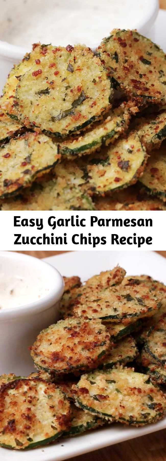 Easy Garlic Parmesan Zucchini Chips Recipe - Combine garlic, parmesan, and zucchini and you've got yourself a totally delicious snack.