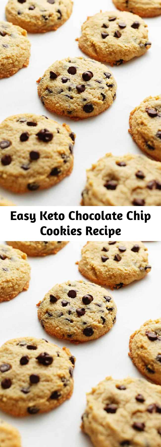 Easy Keto Chocolate Chip Cookies Recipe - These keto chocolate chip keto cookies are low carb, gluten free, amazingly delicious, and kid approved! Easy to make with only 1 bowl and 2 net carbs per cookie! These are truly no fuss. You can literally dump everything in the mixing bowl and they will turn out perfect every time.