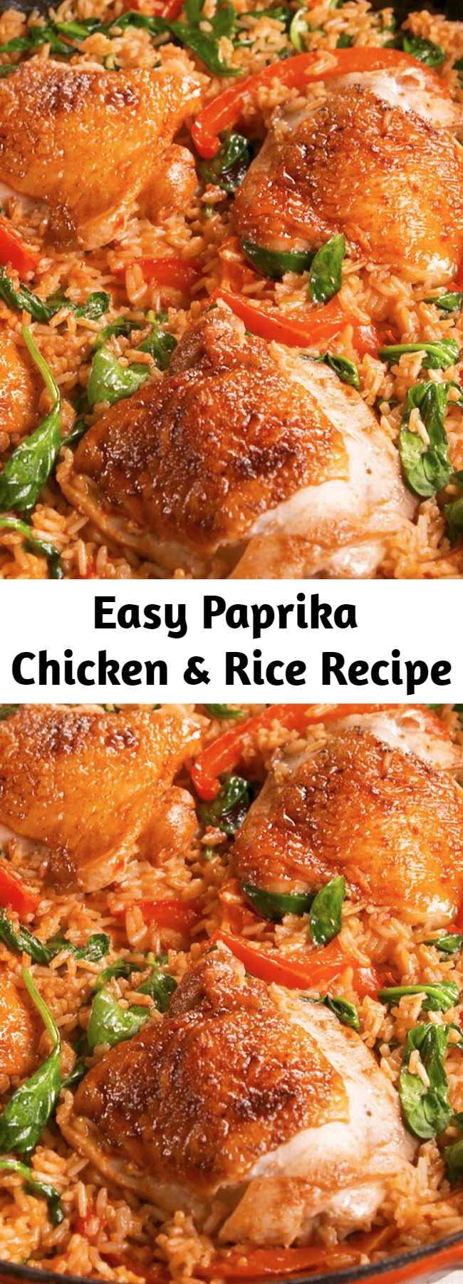 Easy Paprika Chicken & Rice Recipe - Weeknight dinner all-star. #food #easyrecipe #dinner #familydinner #chicken