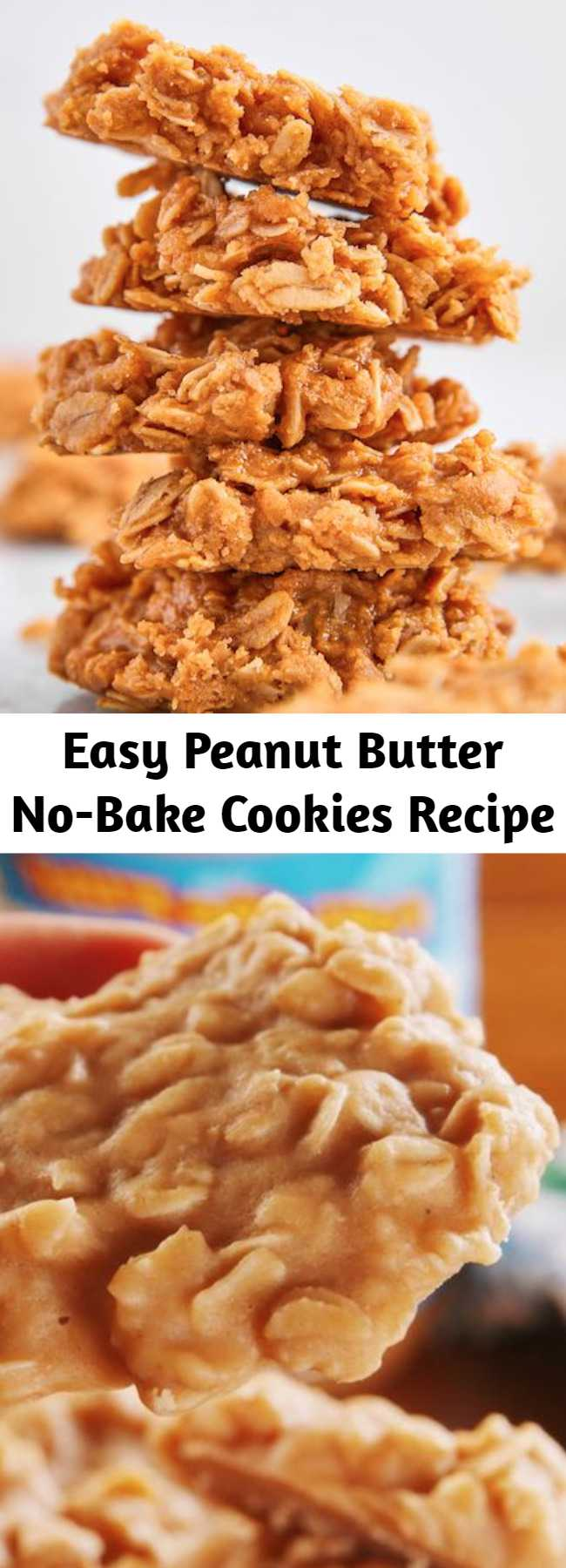 Easy Peanut Butter No-Bake Cookies Recipe - Loaded with sweet-salty peanut butter and chewy oats, these cookies are perfect for when you're craving dessert but don't have the time or patience to wait for your oven to preheat. The texture is a bit more fudgy than your average cookie, and WE'RE OBSESSED. #easy #recipe #nobake #oatmeal #peanut #peanutbutter #butter #PB #healthy #salt #vanilla