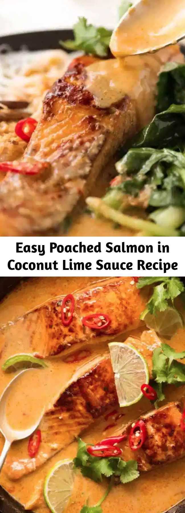 Easy Poached Salmon in Coconut Lime Sauce Recipe - Poached Salmon in a coconut lime sauce that tastes like a Thai coconut curry - except it's super quick and easy to make! Even though the salmon is poached, it's well worth searing lightly to brown for the extra flavour on both the salmon and in the sauce.