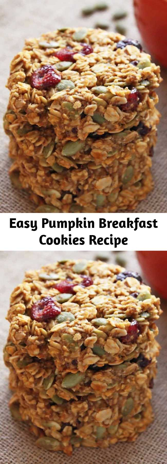 Easy Pumpkin Breakfast Cookies Recipe - These healthy Pumpkin Breakfast Cookies make a nutritious and grab-and-go breakfast that tastes like fall! This gluten-free and clean eating breakfast treat is made with wholegrain oats, cranberries, pumpkin seeds and honey.
