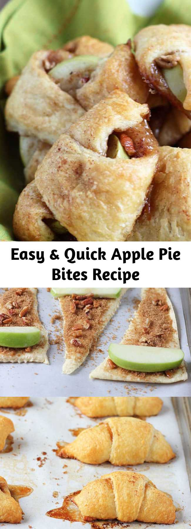 Easy & Quick Apple Pie Bites Recipe - Delicious, quick and easy mini apple pies made with Pillsbury crescent rolls in less than 30 minutes! These incredibly delicious Apple Pie Bites are going to be your go-to apple dessert in a hurry! These taste better than apple pie!!