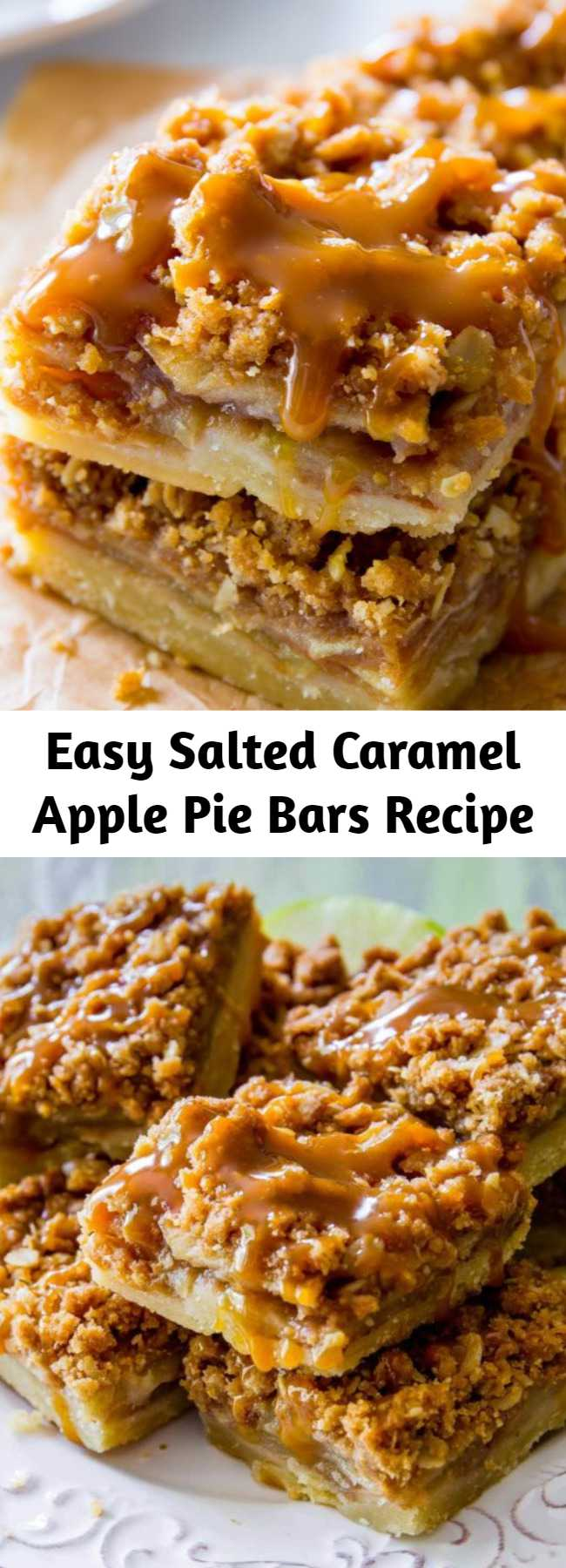 Easy Salted Caramel Apple Pie Bars Recipe - Made with a shortbread crust, spiced apple filling, streusel topping, and homemade salted caramel, apple pie bars are just as delicious as apple pie, but much simpler to make. You'll love this fun twist on a classic dessert!