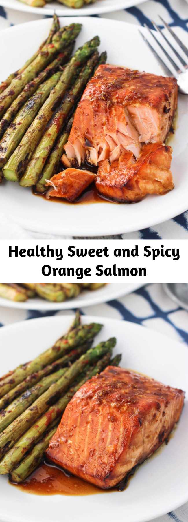 Healthy Sweet and Spicy Orange Salmon - Today I'm excited to share one of my recent favorite dinners - sweet and spicy orange salmon. It's a healthy dinner idea that is quick and easy.