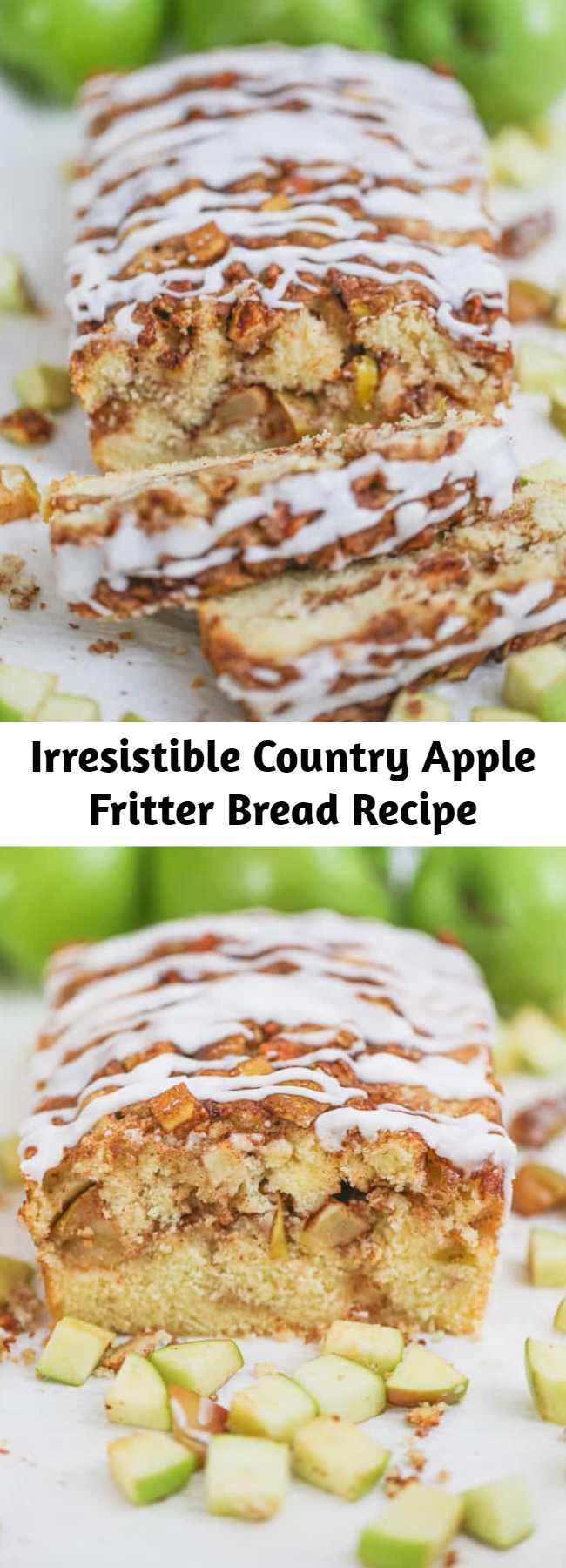 Irresistible Country Apple Fritter Bread Recipe - Have you ever had an apple fritter transformed into fluffy, buttery, white cake loaf with chunks of juicy apples and layers of brown sugar and cinnamon swirled inside and on top? Drizzle with some old-fashioned creme glaze and devour! It's so moist, and delicious. Give it up my sweet friend!  You cannot resist the temptation of Awesome Country Apple Fritter Bread!!! #apple #bread #quickbread #fritter #baking #fall #holidays