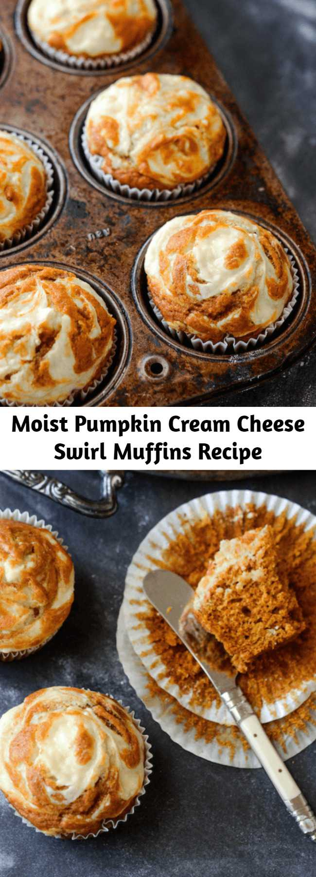 Moist Pumpkin Cream Cheese Swirl Muffins Recipe - Moist spiced pumpkin muffins are topped with sweet cream cheese that melts into them as they bake and only take 30 minutes!