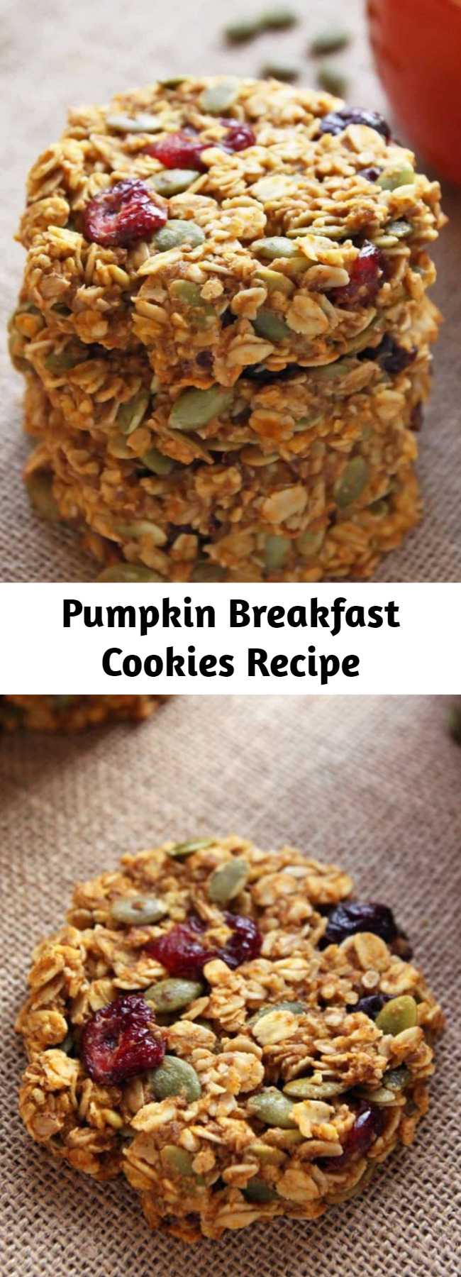 Pumpkin Breakfast Cookies Recipe - These healthy Pumpkin Breakfast Cookies make a nutritious and grab-and-go breakfast that tastes like fall! This gluten-free and clean eating breakfast treat is made with wholegrain oats, cranberries, pumpkin seeds and honey.