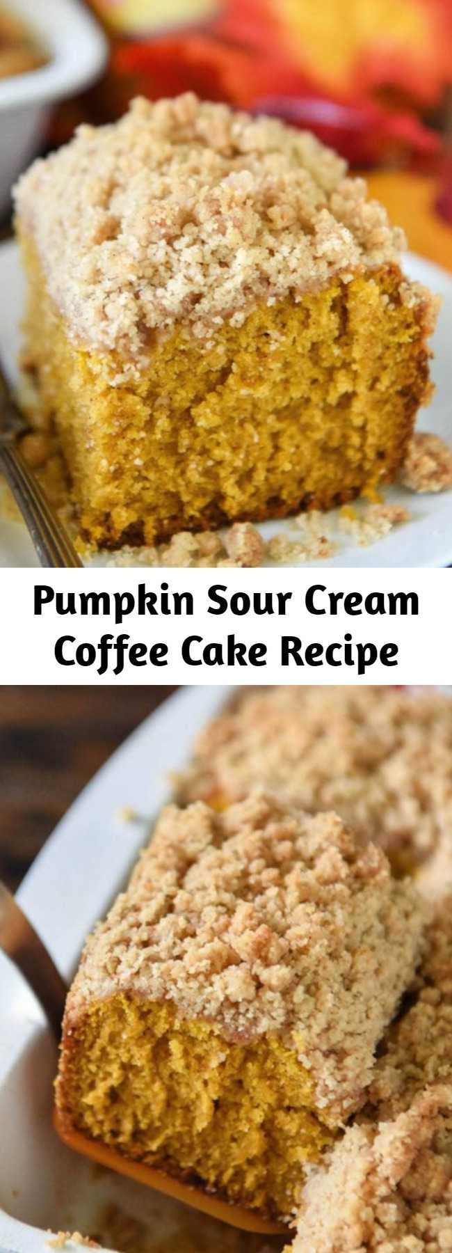 Pumpkin Sour Cream Coffee Cake Recipe - An extra moist pumpkin spice cake (made from scratch) is topped with an amazing cinnamon crumb topping! Serve it with coffee for breakfast or for dessert! #Pumpkin #CoffeeCake #Dessert #Cake
