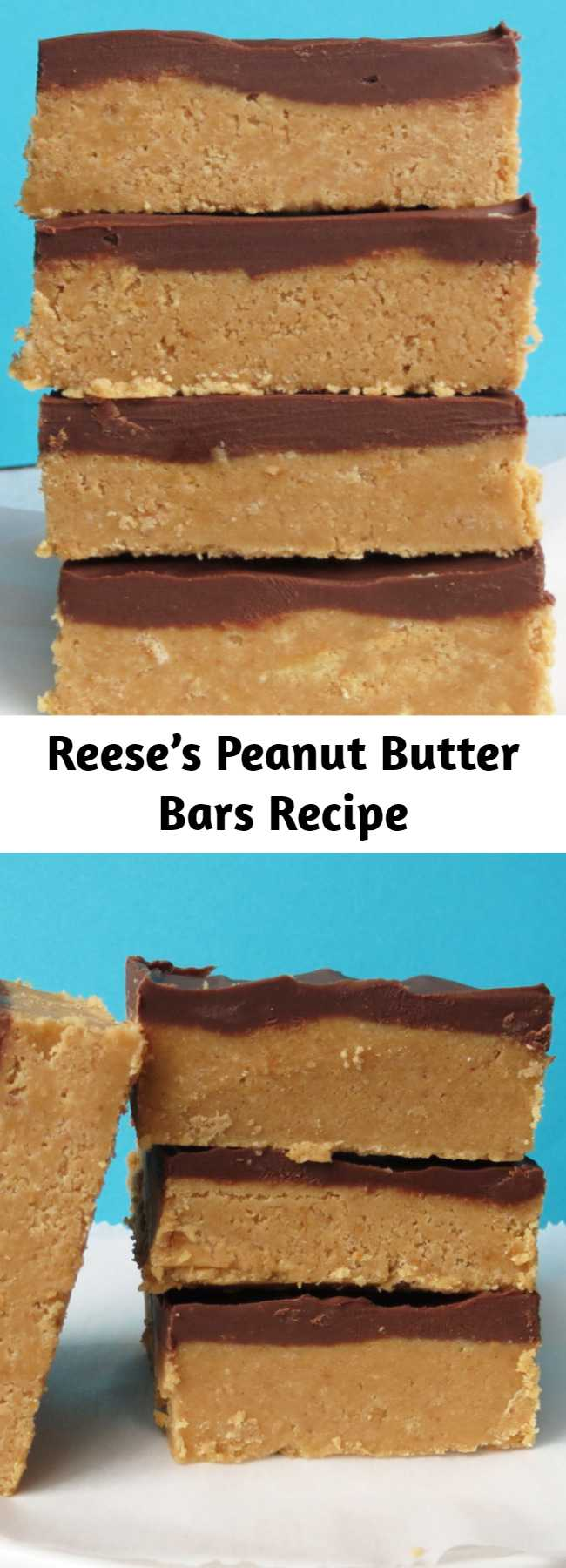 Reese's Peanut Butter Bars Recipe - They taste EXACTLY like a Reese's, but something about them being homemade just makes them better. No bake, no mess, no fuss.  I had these cooling in the fridge less than 10 minutes after I started making them. I only dirtied one bowl.