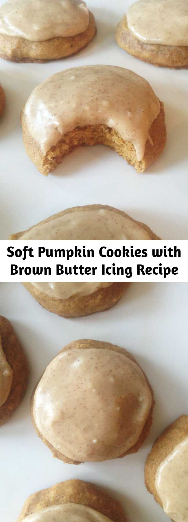 Soft Pumpkin Cookies with Brown Butter Icing Recipe - A soft and tender cake-like pumpkin cookie with pumpkin pie spices, slathered with an amazing brown butter frosting! These Pumpkin Cookies with Brown Butter Icing is the pumpkin recipe that started the whole pumpkin obsession for me, and they do not disappoint!