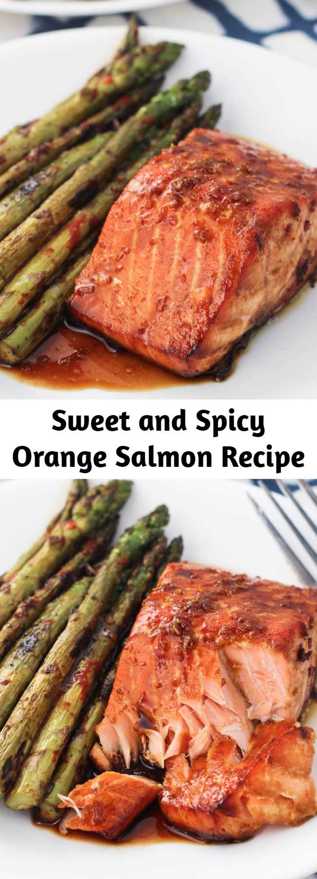 Sweet and Spicy Orange Salmon Recipe - Today I'm excited to share one of my recent favorite dinners - sweet and spicy orange salmon. It's a healthy dinner idea that is quick and easy.